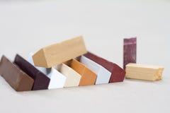Cera coloreada para la restauración de los muebles Reparación de los muebles Fotografía de archivo libre de regalías