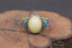 Cera de abejas báltica y anillo ambarino foto de archivo