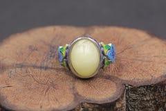 Cera de abejas báltica y anillo ambarino foto de archivo libre de regalías