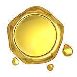 Cera do selo dourado Fotografia de Stock Royalty Free