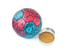 Cera e palla di pallamano Fotografia Stock