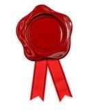 Cera vermelha do selo com fita Fotos de Stock