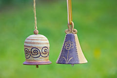 Ceramic bells in garden Royalty Free Stock Images