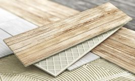 Ceramic tiles with wood texture on a blurred floor. 3d illustration vector illustration