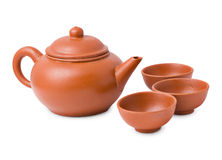 Ceramic ancient oriental teapot and cups Royalty Free Stock Photography