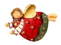 Ceramic angel, Christmas tree toy isolated on white background Stock Images