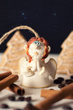 Ceramic angel in magic forest Royalty Free Stock Photos