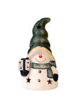 Ceramic aroma lamp. Snowman isolated on white. Christmas decorat Royalty Free Stock Photography