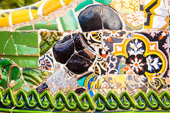 Ceramic art in Park Guell in Barcelona, Spain Royalty Free Stock Images
