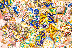 Ceramic art in Park Guell in Barcelona, Spain Stock Photography
