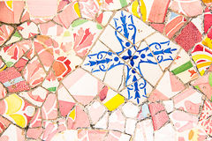 Ceramic art in Park Guell in Barcelona, Spain Stock Image