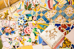 Ceramic art in Park Guell in Barcelona, Spain Stock Photo