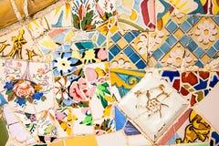 Ceramic art in Park Guell in Barcelona, Spain Stock Photo