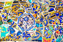 Ceramic art in Park Guell in Barcelona, Spain Royalty Free Stock Photography