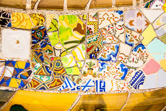 Ceramic art in Park Guell in Barcelona, Spain Stock Image