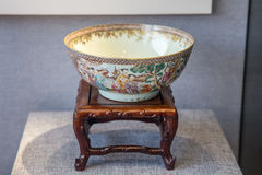 A ceramic art in Qing Dynasty, Hui Jin Medallion character grain bowl. Royalty Free Stock Photos