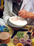 Ceramic artist working, pottery workshop Royalty Free Stock Photo