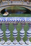 Ceramic balusters at Plaza de Espana, Seville, Spain stock photography