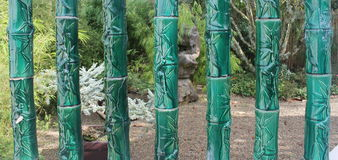 Ceramic bamboo carving at Hamilton Gardens. Bamboo decoration with carvings and shapes at the Hamilton Gardens, Hamilton, New Zealand Royalty Free Stock Images