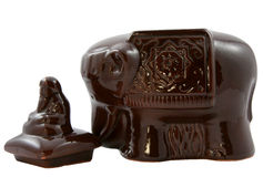 Ceramic bank for tea in the form of an elephant Royalty Free Stock Photography