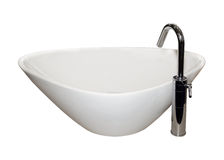 Ceramic basin. Modern ceramic basin with silver faucet isolated with clipping path Stock Photos