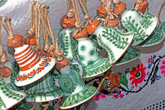 Ceramic bells hanging from a rope, traditional decorated Royalty Free Stock Photos