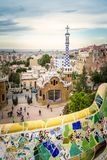 Ceramic bench and entrance pavilion of park Guell Royalty Free Stock Photo