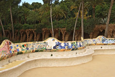 Ceramic bench at Parc Guell Stock Image
