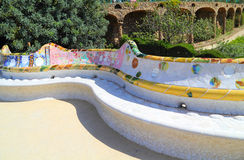 Ceramic bench in Park Guell in Barcelona. Ceramic bench in Park Guell, Barcelona, Spain Stock Photo