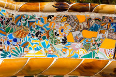 Ceramic Bench Park Guell - Barcelona Spain Stock Photos
