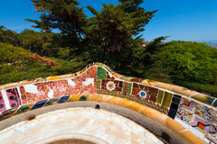 Ceramic Bench Park Guell - Barcelona Spain Royalty Free Stock Images