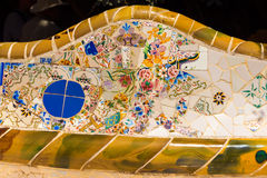 Ceramic Bench Park Guell - Barcelona Spain Stock Photos