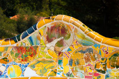 Ceramic Bench Park Guell - Barcelona Spain Stock Photo