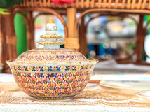 Ceramic Benjarong .A traditional Thai five-colored famous porcel Stock Photo