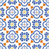 Ceramic blue and white mediterranean seamless tile pattern. Stock Image