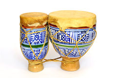 Ceramic bongos. Small ceramic bongos from Morocco over white Stock Photography