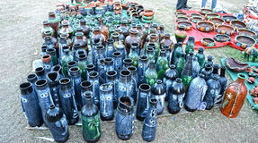 Different Flower Vases and Bottles Royalty Free Stock Photography