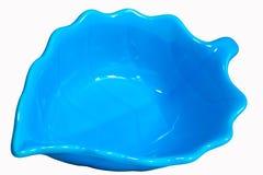Ceramic bowl blue leaf. Isolated on white background stock photo