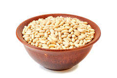 Ceramic bowl with canellini beans on white Stock Image