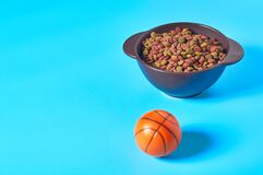 Ceramic bowl full of dry food for pet near rubber basketball ball on blue background