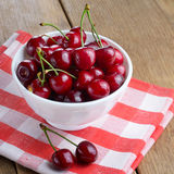 Ceramic Bowl of organic Cherries Stock Image