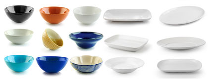 Ceramic bowl and plate on white background Royalty Free Stock Image