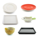 Ceramic bowl and plate on white background Stock Photo