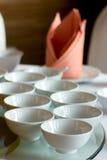 Ceramic bowl set in the restaurant Stock Photos