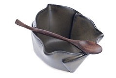 Ceramic Bowl with Wooden Spoon Stock Images