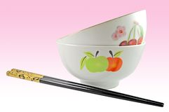 Ceramic bowls and chopsticks Royalty Free Stock Photo