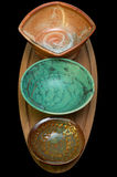 Ceramic Bowls on Serving Tray Royalty Free Stock Images