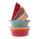 Ceramic bowls in a stack isolated on white Royalty Free Stock Images