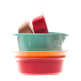 Ceramic bowls in a stack isolated on white Stock Image