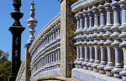 Ceramic bridge in Plaza de Espana in Seville, Andalusia, Spain. Old landmark Royalty Free Stock Photos